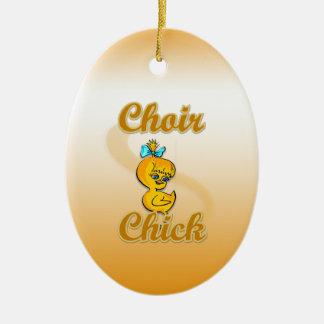 Polluelo del coro adorno navideño ovalado de cerámica