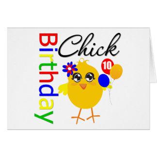 Polluelo del cumpleaños 10 años tarjeta de felicitación