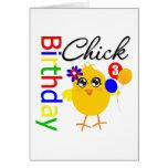 Polluelo del cumpleaños 3 años tarjeta