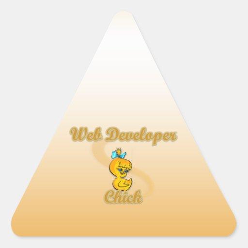 Polluelo del desarrollador de Web Pegatina Triangular