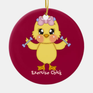 Polluelo del ejercicio (personalizable) adorno navideño redondo de cerámica