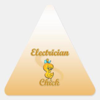Polluelo del electricista pegatina triangular
