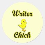 Polluelo del escritor etiquetas redondas