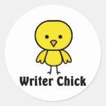 Polluelo del escritor pegatina redonda