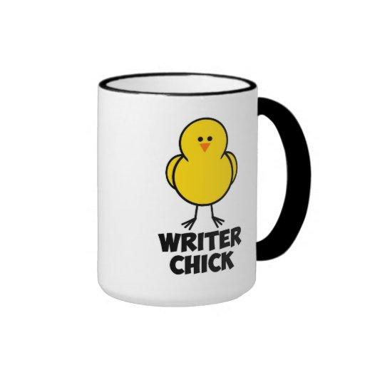 Polluelo del escritor taza de café