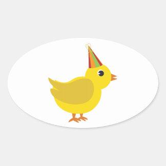 Polluelo del fiesta pegatina ovalada