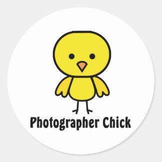 Polluelo del fotógrafo pegatina redonda