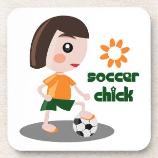 Polluelo del fútbol posavasos de bebida
