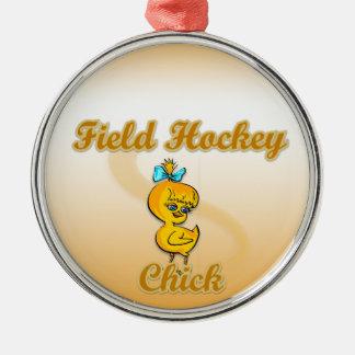 Polluelo del hockey hierba adorno navideño redondo de metal