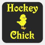 Polluelo del hockey calcomania cuadradas personalizadas