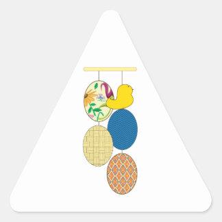 Polluelo del huevo de Pascua Pegatina Triangular