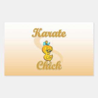 Polluelo del karate pegatina rectangular