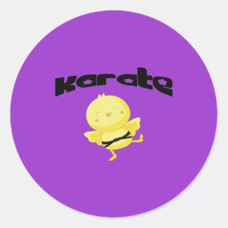 Polluelo del karate pegatina redonda