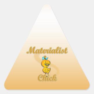 Polluelo del Materialist Pegatina De Triangulo Personalizadas