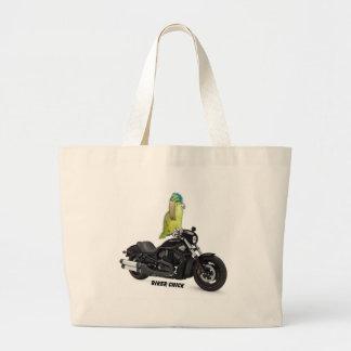 Polluelo del motorista del loro en Harley Davidson Bolsa Tela Grande