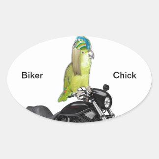 Polluelo del motorista del loro en Harley Davidson Pegatina Ovalada