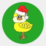Polluelo del navidad etiqueta redonda