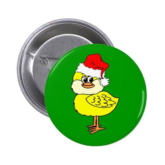 Polluelo del navidad pin redondo de 2 pulgadas