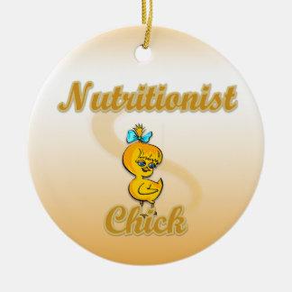 Polluelo del nutricionista adorno navideño redondo de cerámica