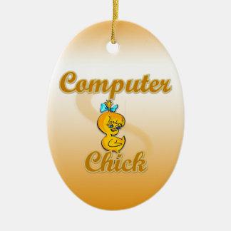 Polluelo del ordenador adorno ovalado de cerámica