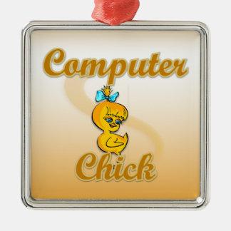 Polluelo del ordenador adorno cuadrado plateado