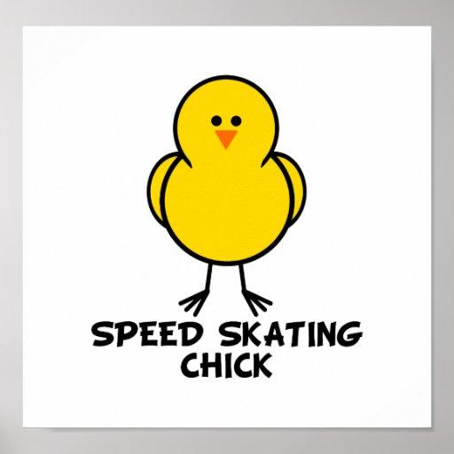 Polluelo del patinaje de velocidad póster