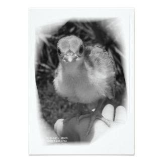 Polluelo del pavo real del bebé que se coloca en invitacion personalizada