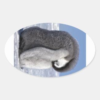 Polluelo del pingüino de emperador el dormir pegatina ovalada