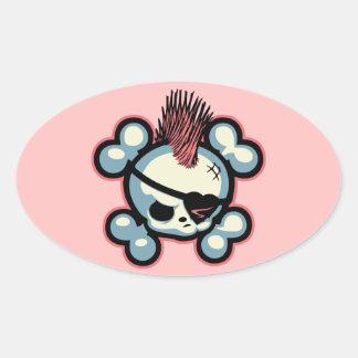 Polluelo del pirata de Punkin Pegatina Ovalada