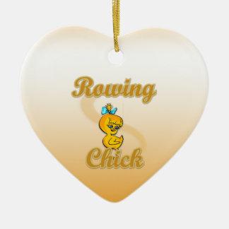 Polluelo del Rowing Adorno Navideño De Cerámica En Forma De Corazón
