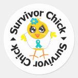 Polluelo del superviviente del cáncer ovárico etiqueta redonda