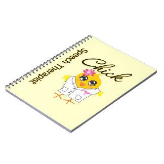 Polluelo del terapeuta de discurso libro de apuntes con espiral