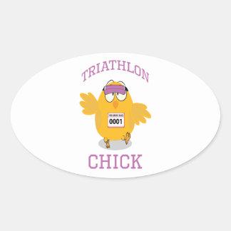 Polluelo del Triathlon Pegatina Ovalada