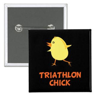 Polluelo del Triathlon Pin Cuadrada 5 Cm