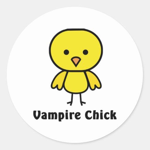 Polluelo del vampiro pegatina redonda