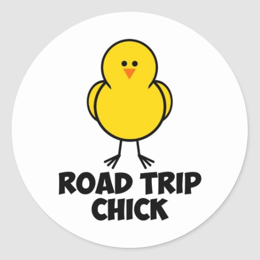 Polluelo del viaje por carretera pegatina redonda