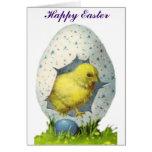 Polluelo del vintage y huevo de Pascua Felicitación