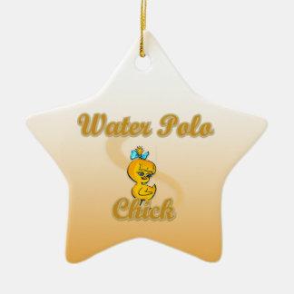 Polluelo del water polo adorno navideño de cerámica en forma de estrella