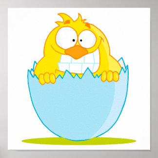 polluelo divertido del bebé que trama del huevo póster