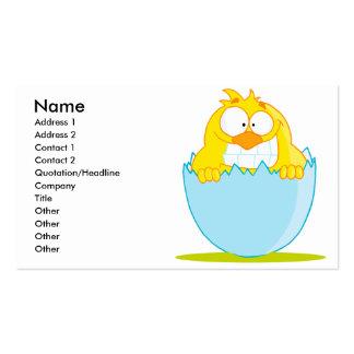 polluelo divertido del bebé que trama del huevo tarjetas de visita