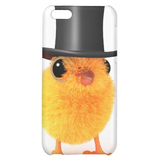polluelo elegante 3d en sombrero de copa