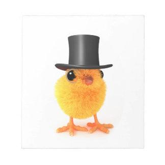 polluelo elegante 3d en sombrero de copa blocs de notas