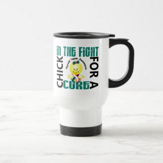 Polluelo en el cáncer de tiroides de la lucha tazas de café