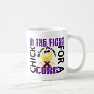 Polluelo en la epilepsia de la lucha taza de café