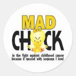 Polluelo enojado en el cáncer de la niñez de la etiquetas redondas