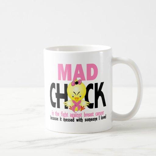 Polluelo enojado en el cáncer de pecho de la lucha tazas de café