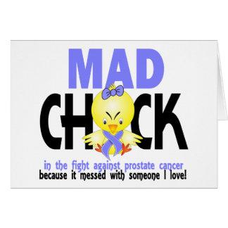 Polluelo enojado en el cáncer de próstata de la lu tarjeta de felicitación