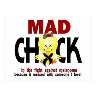 Polluelo enojado en el melanoma de la lucha tarjetas postales