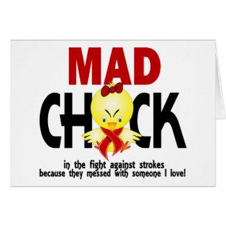 Polluelo enojado en el movimiento de la lucha tarjeta