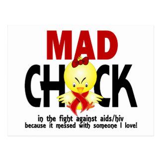 Polluelo enojado en el SIDA de la lucha Tarjeta Postal